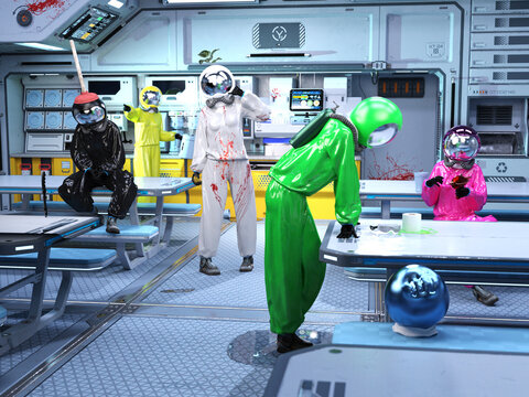 3D Photo of Space Workers Looking for a Murderer