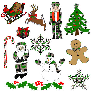 Christmas collection of vectors. Modifiable symbols: Sleigh, reindeer, nutcracker, Christmas Tree, present, candy cane, Santa Claus, snowman, gingerbread man, snowflakes, holly.