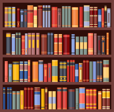 Bookshelf background, bookcase with books, vector library