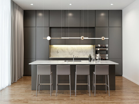 3d rendering of a modern contemporary anthracite   masculine kitchen with white marble and an island with grey bar stools