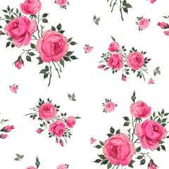 Abstract seamless pattern of beautiful roses with foliage and buds