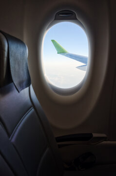 View from the windows seat in an airplane