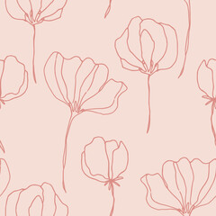Floral seamless pattern with beautiful vintage flowers