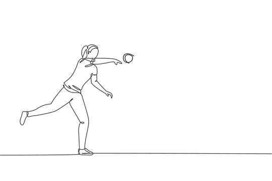 Single continuous line drawing of young sportive woman practice to powerfully throw shot put on the court stadium. Athletic games sport concept. Trendy one line draw design vector graphic illustration