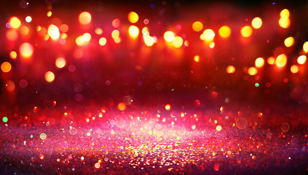 Abstract Christmas Background - Red Glitter With Defocused Lights In The Darkness
