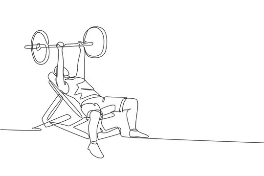 Single continuous line drawing of young sportive man training lift barbell on bench press in sport gymnasium club center. Fitness stretching concept. Trendy one line draw design vector illustration