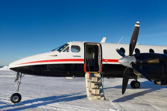 Empty Beechcraft turboprop aircraft at Barter Island LRRS airport at Kaktovik Alaska Kaktovik, Alaska - October 15, 2013