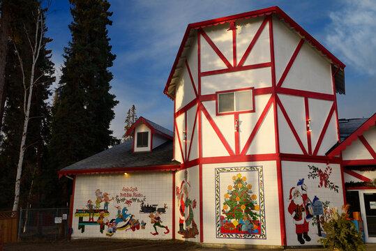 The Santa Claus House at SantaLand North Pole Alaska with Christmas scene tiles North Pole, Alaska - October 21, 2013