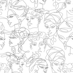 African girls and men one line seamless pattern 4
