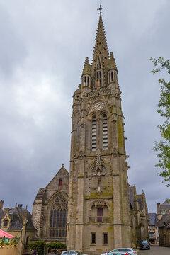 Josselin, France. Bell tower of the Notre-Dame du Roncier Basilica