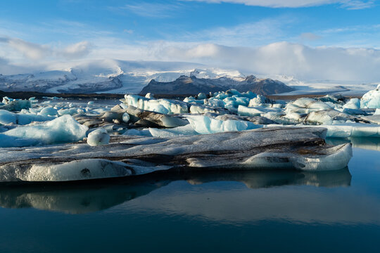 Amazing iceberg formations at Jokulsalron glacier lagoon landscape of Iceland, frozen land showing the climate changes