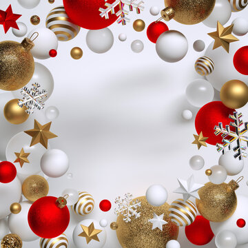 3d render, abstract Christmas background with copy space, decorated with assorted ornaments, red and gold balls, stars and snowflakes levitate. Seasonal festive clip art, isolated on white background