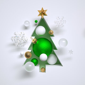3d render, abstract Christmas tree niche, filled with assorted ornaments. White green and gold balls, star and crystal snowflakes. Seasonal festive clip art, isolated on white background