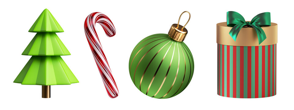 3d render, set of Christmas ornaments: gift box, glass ball, fir tree, candy cane. Holiday clip art collection isolated on white background