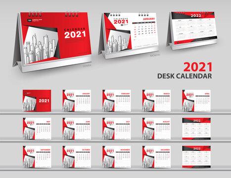 Set Desk Calendar 2021 template Creative design, calendar 2022, 2023 layout, 3d mockup desk calendar, Red cover design, Set of 12 Months, Week starts Sunday, Stationery