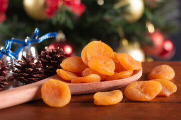 Dried apricots traditional christmas food. Christmas Party Decoration.