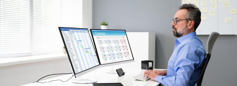 Employee Using Schedule Calendar