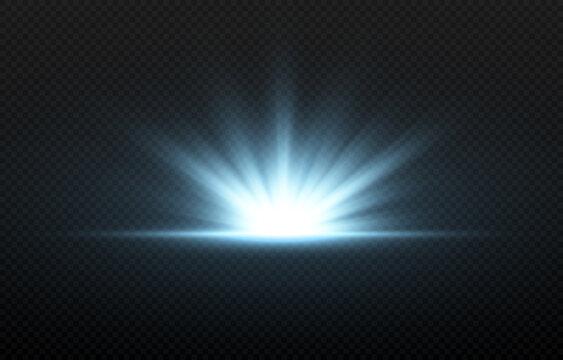 Vector blue flash of light. Blue light, rays, vector glow. Light png. Beginning, dawn, sunrise, vector glow.