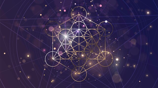 Golden sacral symbol of Metatron's Cube on the background of space