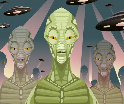 evil vintage alien space invader and flying saucers ufo ships