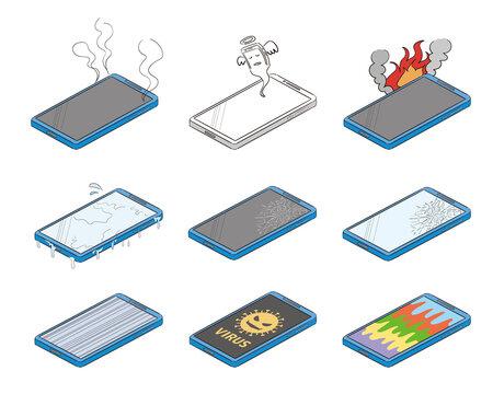 スマートフォンの故障不具合のイラストセット