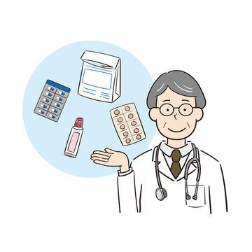 薬の説明をする男性医師