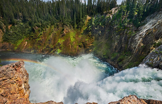 Water thunders over the Upper Falls on the Yellowstone River. Yellowstone National Park, Wyoming