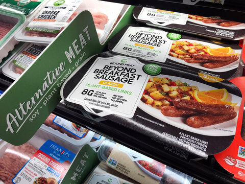Beyond Meat brand classic plant-based links Beyond Breakfast Sausage packages available for vegan customers on shelves of alternative meat section of grocery store - San Jose, California, USA - 2020