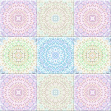 Abstract seamless background, Pastel colors vintage fractal kaleidoscope style.