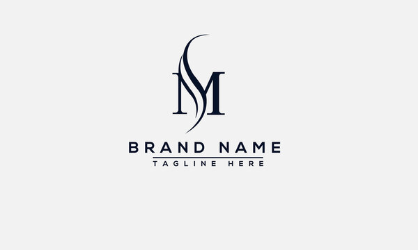 SM Logo Design Template Vector Graphic Branding Element.