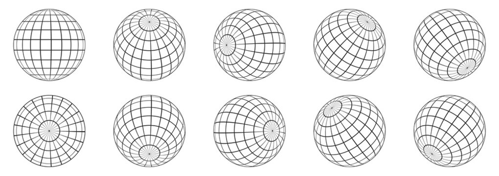 3d spheres globe earth. Linear globe grid in different angles.