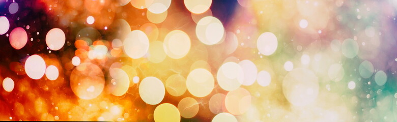 Abstract Festive background. Glitter vintage lights background with lights defocused. Christmas and New Year feast bokeh background with copyspace. Fotomurales
