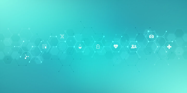 Medical background with flat icons and symbols. Template design with concept and idea for healthcare technology, innovation medicine, health, science, and research.