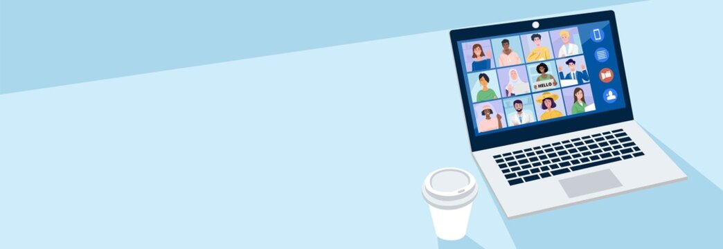 Virtual meeting concept, People having video conference with their colleagues at home. Vector Illustration