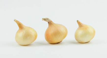 Three yellow organic onions  in a row on white background.