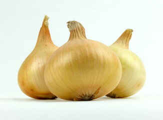 Three yellow organic onions on white background.