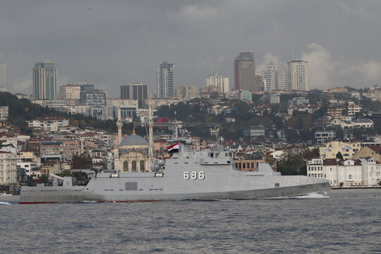 Egyptian Navy fast attack craft M. Fahmy sails in Istanbul's Bosphorus