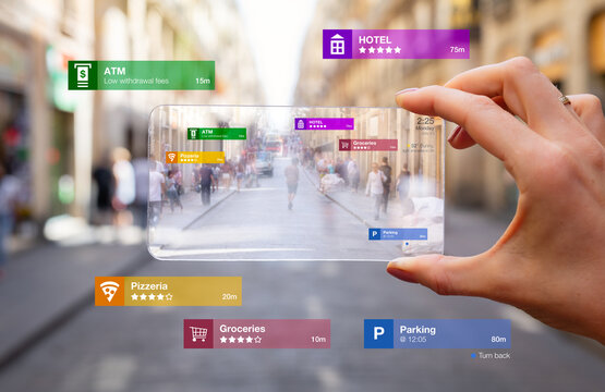 Concept of augmented reality technology being used on futuristic tech gadget