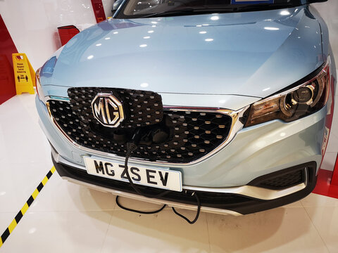 London, UK: November 12, 2020:  MG ZS EV electric car at a charging station. The UK's ban on the sale of new petrol and diesel cars is set to be officially brought forward a decade from 2040 to 2030.