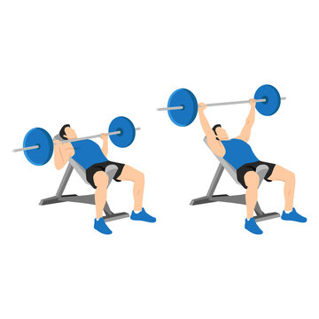 Incline barbell bench press exercise. Flat vector illustration isolated on white background. Workout character