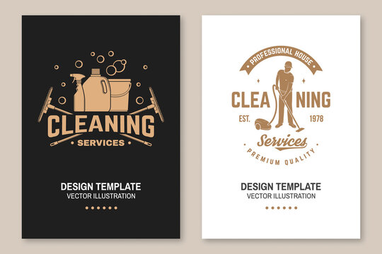 Cleaning company covers, invitations, posters, banners, flyers. Vector. Vintage typography design with cleaning equipments. Cleaning service template for company related business