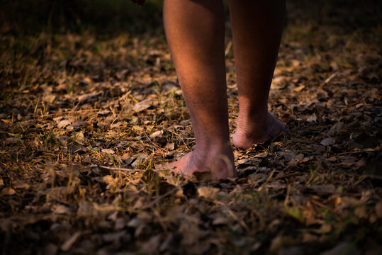 Close-up of women walking over dry leaves in naked feet