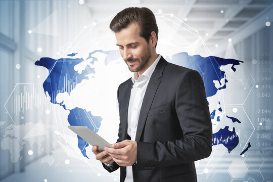Man with tablet in office, world map