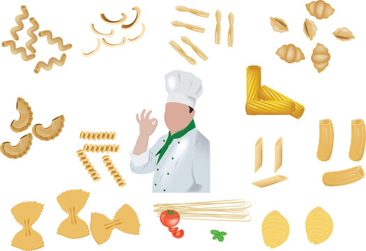 various pasta with figure of the cook