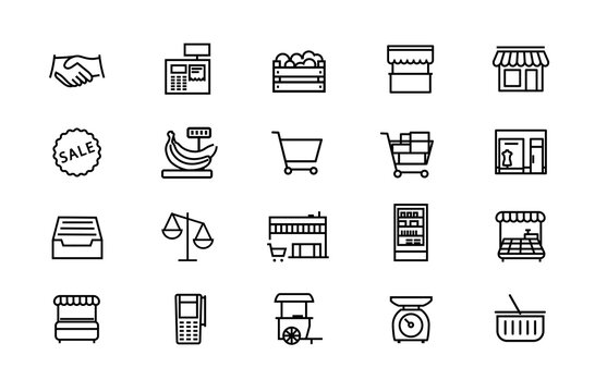 Retail trade and small business. Street trading. Store, boutique, kiosk, terminal for the sale of goods, a box of products, cash register. A set of vector icons with editable contour.