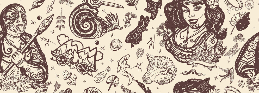 New Zealand seamless pattern. Old school tattoo collection. Aboriginal tribes, Maori man warrior grimace. Tradition and people. Tourism and travel. Ethnic Polynesian woman in traditional costume