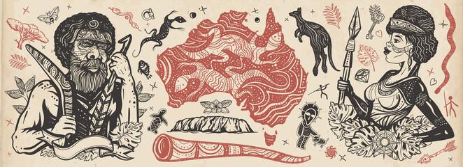 Fototapeta Australia. Old school tattoo vector collection. Aboriginal tribes bushmen. Boomerang, kangaroo, didgeridoo, map. Tradition, people, culture. Ethnic Australian woman in traditional costume obraz