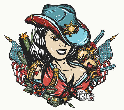 Cowboy girl pin up style. Sheriff woman in hat. Guns, playing cards and money. Tattoo and t-shirt design. Beautiful American woman in national clothes of USA. Wild West concept. Western art