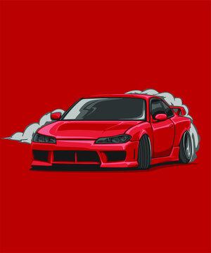 Illustrated detailed japanese cars jdm
