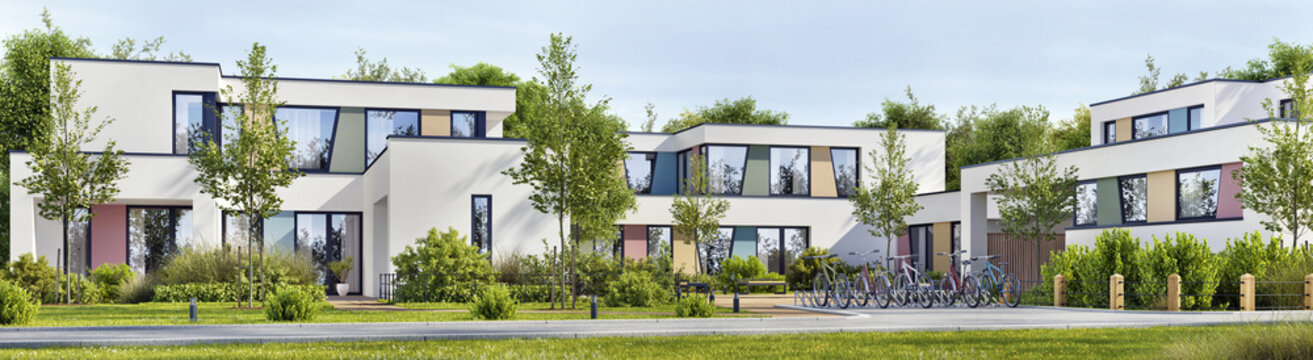 Modern school building exterior design or modern new office. Bicycle parking, lawn, trees and road
